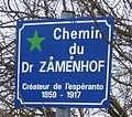 Champenoux, Chemin du Dr Zamenhof – plaque.JPG