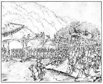 Sonderbund War - The II. Division crosses the Emme river into Littau.