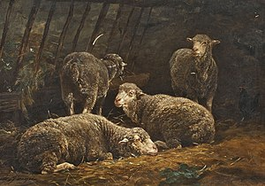 Charles Jacque - Sheep in stall