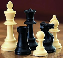 A selection o black an white chess pieces on a chequered surface.