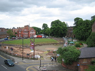 Chester Roman Amphitheatre - The amphitheatre seen from the city walls, with archaeological digs in progress (2006)