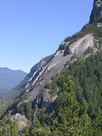 "Stawamus Chief - The Chief's ""Apron"" area, a massive sloping granite slab popular with rock climbers. This photo was taken from the ""Malamute"""