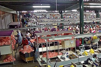 HIV/AIDS in Lesotho - Women work in a Chinese-owned textile factory in Lesotho.