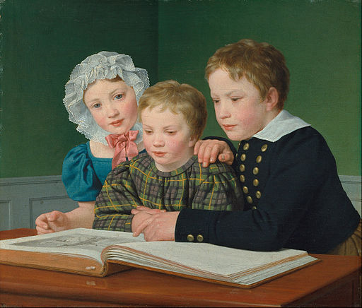 Christoffer Wilhelm Eckersberg - Portrait of C.F. Holm's children. Adam Vilhelm, Pauline Frederikke and Johan Chr. Julius - Google Art Project