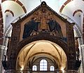 Ciborio di sant'ambrogio, con stucchi del IX secolo, ambrogio tra i ss. gervasio e protasio e due devoti benedettini 01.jpg