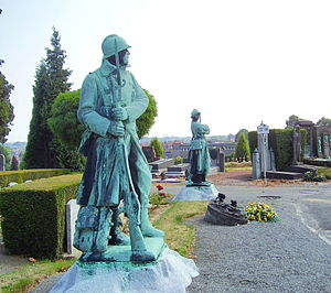 "Ixelles Cemetery - Military monument, sculptor Charles Samuel, at the ""pelouse d'honneur""."