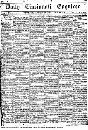 The Cincinnati Enquirer - The first issue of the Daily Cincinnati Enquirer.