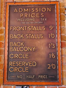 Admission Prices Board Cinema Museum London Seating Indicator