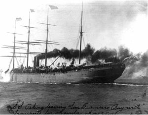Delaware River Iron Ship Building and Engine Works -  City of Peking. For many years she was the largest-tonnage U.S. ship afloat. She is seen here leaving San Francisco Bay with troops bound for the Philippines during the Spanish–American War of 1898.
