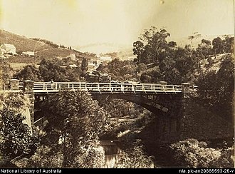 Onkaparinga River - Bridge over the Onkaparinga at Clarendon circa 1869