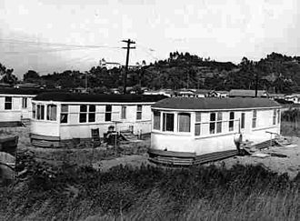 San Diego Class 1 Streetcars - Archival photo of Class 1 streetcar homes in the Old Town neighborhood of San Diego, CA.