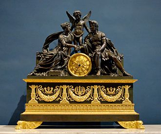 French Empire mantel clock - Patinated and ormolu bronze piece representing Mars and Venus, an allegory of the wedding of Napoleon I and Archduchess Marie Louise of Austria. By the famous bronzier Pierre-Philippe Thomire, c. 1810.