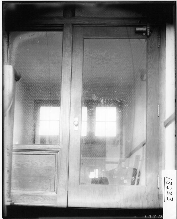 Fileclose Up Of Mesh In Glass Door In Bishop Hall 1914 3192244998