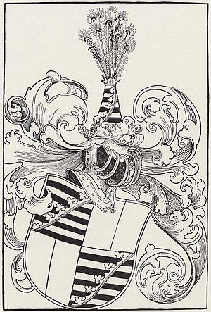 John V, Duke of Saxe-Lauenburg - Woodcut by Lucas Cranach the Elder: Coat-of-arms of John V