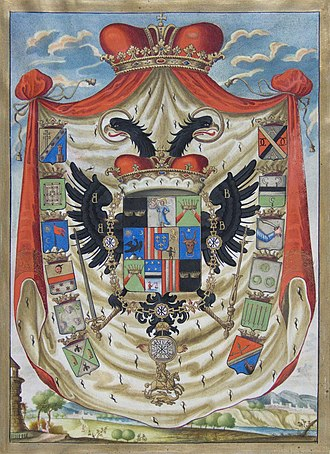 Cantacuzino family - Image: Coat of arms of Ioan Radu Cantacuzino, 1744