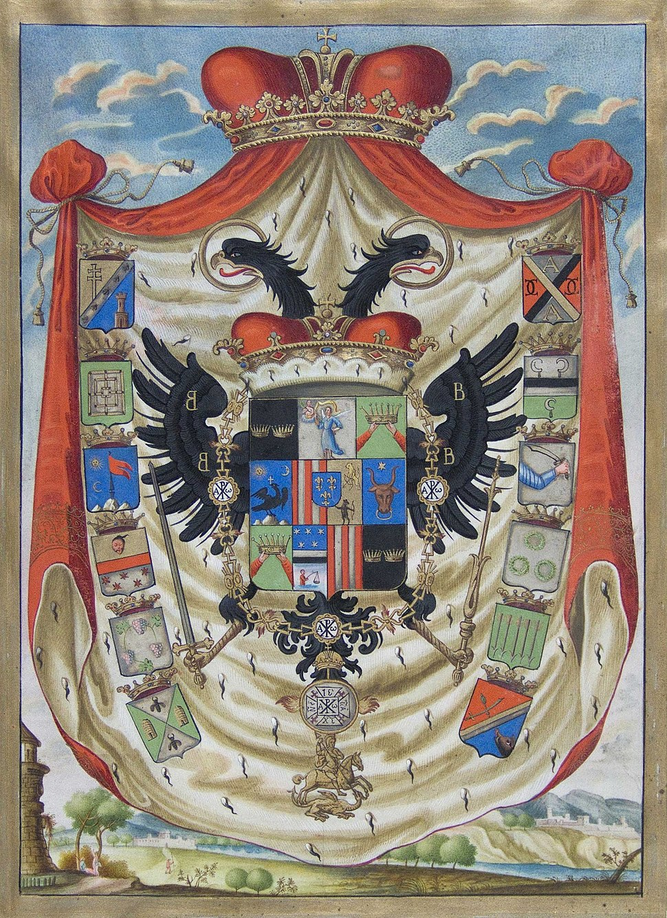 Coat of arms of Ioan Radu Cantacuzino, 1744
