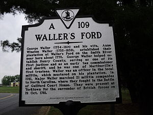 Fieldale, Virginia - Waller's Ford, named for Col. George Waller. Today's Fieldale