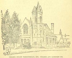 College Street United Church - A sketch of the original church