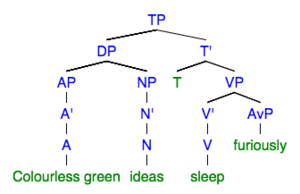 "Grammaticality - Tree structure of ""Colourless green ideas sleep furiously"""