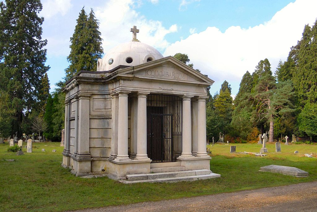 Brookwood Columbarium, built as a mausoleum for Lord Cadogan but converted in 1910 for the storage of cremation urns