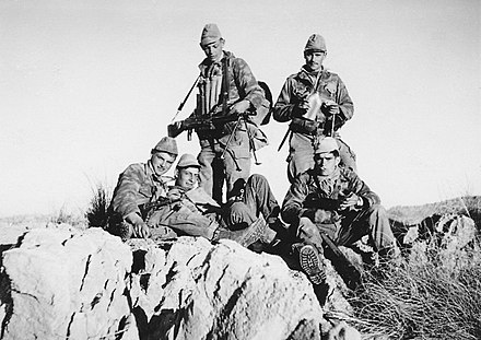 Soldiers of the 4th zouaves regiment during the Algerian War Commando de chasse V66 du 4me Zouaves.jpg