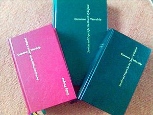 Common Worship - Three Common Worship liturgy books. From left to right they are Daily Prayer (red), Pastoral Services (green) and the Main Volume (black).