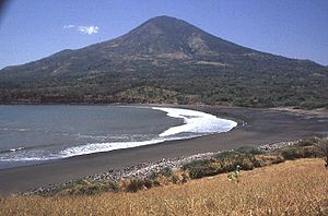 Conchagua (volcano) - Conchagua volcano towers above sandy beaches along the Gulf of Fonseca at the SE tip of El Salvador.