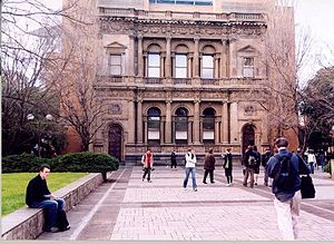 Collins Street, Melbourne - The facade of the Collins Street Bank of New South Wales was relocated to become the University of Melbourne Commerce building.