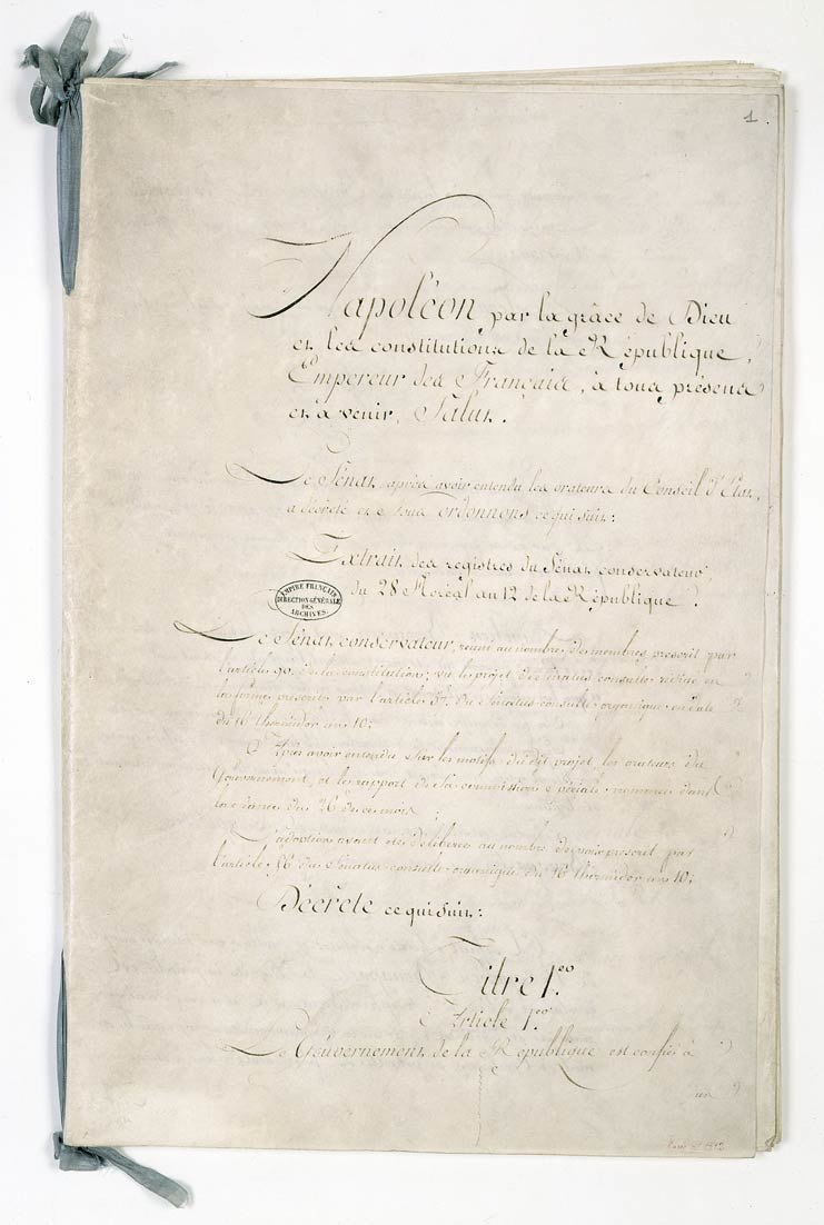 Constitution de l'an XII. Page 1 - Archives Nationales - AE-II-1512