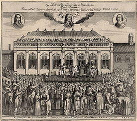 This contemporary German print depicts Charles I's decapitation.
