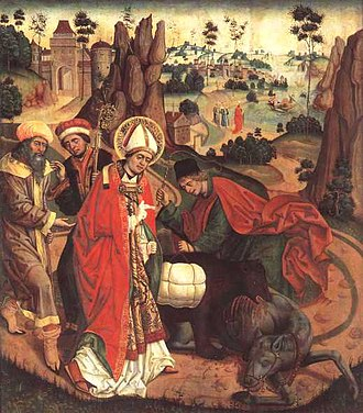 Corbinian - Saint Corbinian depicted in The Miracle of the Bear (1489) by Jan Polack. Diocesan Museum in Freising, Germany.
