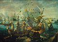 Cornelis van Wieringen (attrib.) - Het ontploffen van het Spaanse admiraalschip tijdens de zeeslag bij Gibraltar.JPG