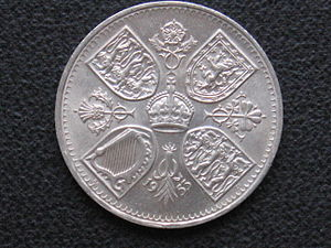 Crown (British coin) - Image: Coronation Crown 1953 reverse