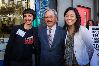 Jane Kim - CounterPULSE! Executive Artistic Director Jessica Robinson Love stands with San Francisco Mayor Ed Lee and Supervisor Kim. CounterPULSE! is a non-profit arts venue in Kim's district.