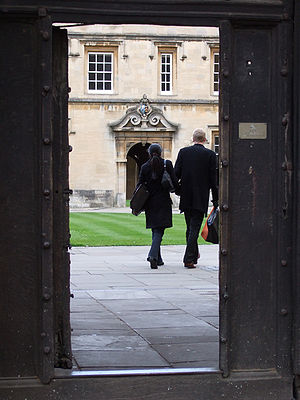 An Oxbridge college seen from the outside