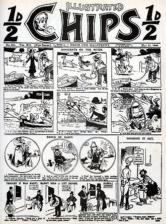 """Illustrated Chips - Cover of Illustrated Chips n°298 (16 May 1896) with the first appearance of the long-running hobo comics series Weary Willie and Tired Tim, then known as """"Weary Waddles and Tired Timmy""""."""