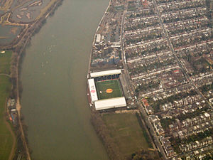 Craven Cottage - Aerial view of Craven Cottage on the banks of the River Thames as it looks today