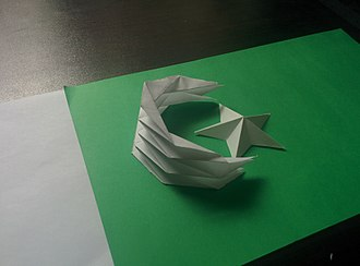 Flag of Pakistan - Pakistani flag Origami with Crescent moon and star