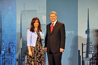 Stephen Harper - President of Argentina Cristina Kirchner and Harper in Toronto, 2010