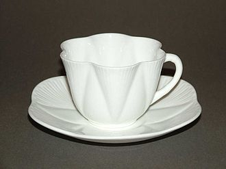Shelley Potteries - Cup and saucer Dainty White design by Rowland Morris 1896