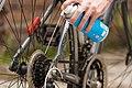 Cyclist greasing bicycle chain.jpg