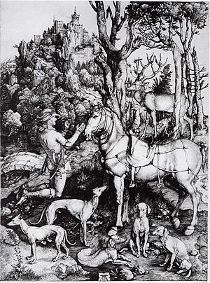 The Adoration of the Kings (Gossaert) - Image: Dürer Der hl Eustachius