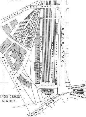 London King's Cross railway station - Plan of King's Cross in 1888. Originally there was only one arrival and one departure platform.