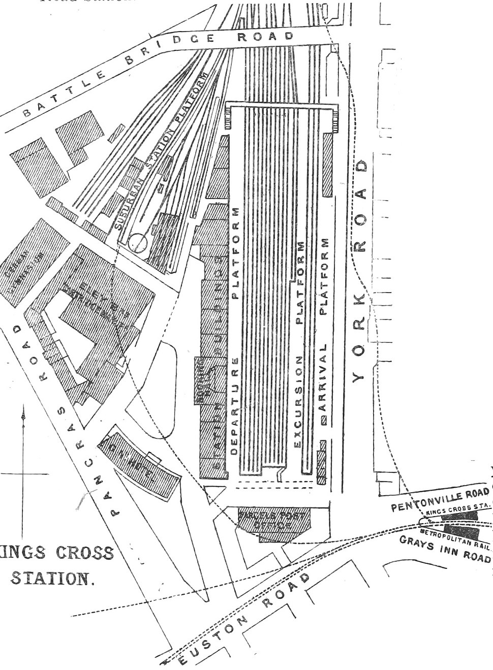 DISTRICT(1888) p138 - King's Cross Station (plan)