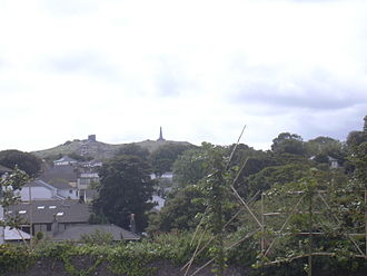 Carn Brea, Redruth - Carn Brea, seen from Redruth. Carn Brea Castle and Monument are visible at the top of the hill.