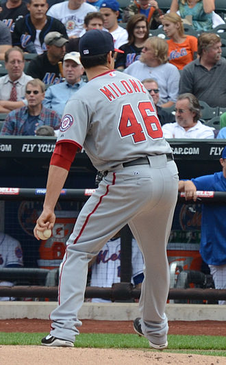 Tommy Milone - pitching for the Washington Nationals in 2011