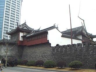 Old City (Shanghai) - Only remaining wall at the Dàjìng Gé Pavillon.