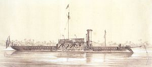Brazilian ironclad Brasil - A heavily damaged Brasil (without masts) after the attack on Curuzu Fort, downstream of Curupaity, 1866