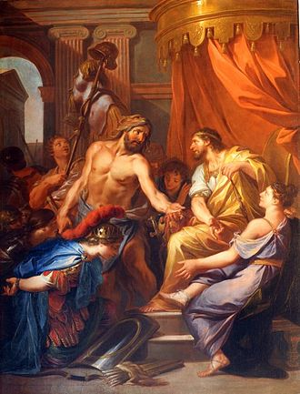 Eurystheus - Hercule apporte à Eurysthée la ceinture de la reine des Amazones by Daniel Sarrabat