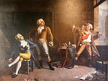 1882 painting of Maximilien Robespierre (sitting), Georges Danton and Jean-Paul Marat (both standing, Marat with his arms dramatically outstretched) by Alfred Loudet.